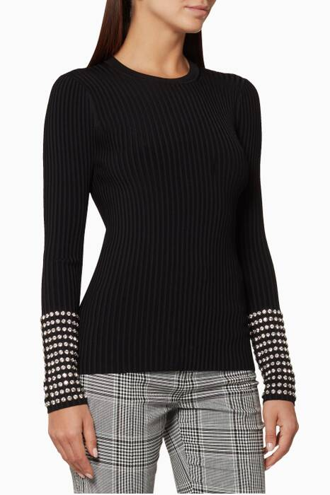 Black Long-Sleeved Crystal-Cuff Sweater