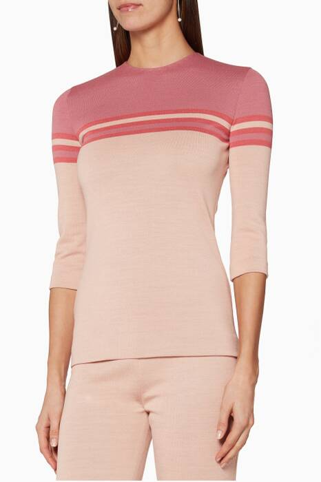 Pink Belted Knit Top