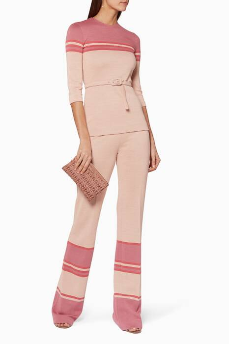 Pink Colour-Blocked Wool Pants