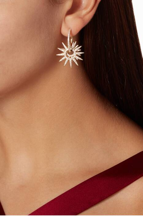 Asymmetric Yellow Silver Sun Earrings