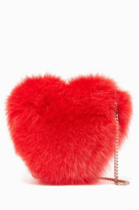Red Heart Fox Fur Pouch