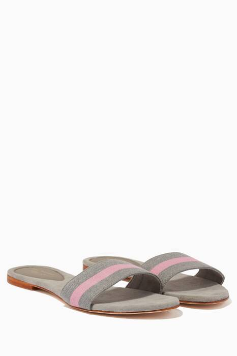 Grey Striped Cotton Slides