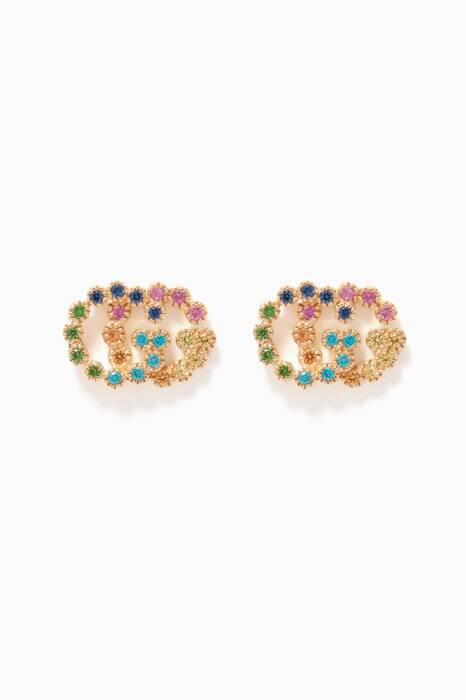 Multi-Coloured Double G Stud Earrings
