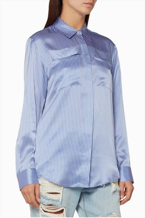 Blue & White Striped Menswear Shirt