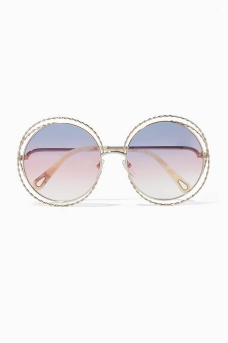 Blue Carlina Round-Frame Sunglasses