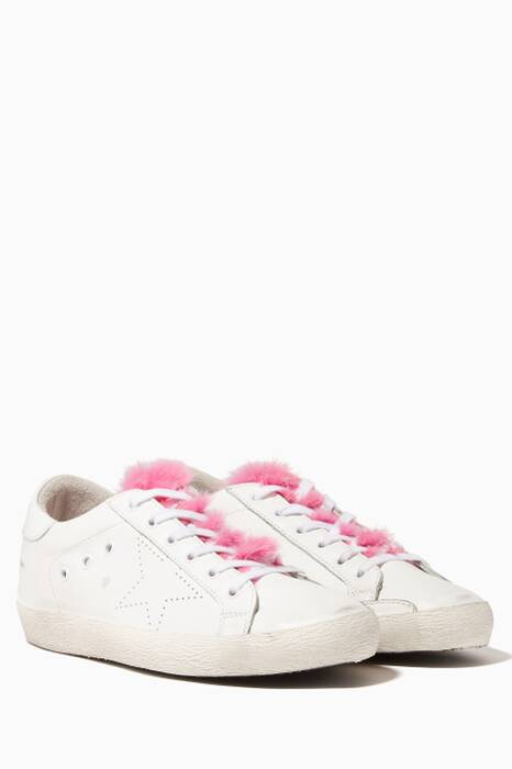 White Low-Top Fur Tongue Superstar Sneakers