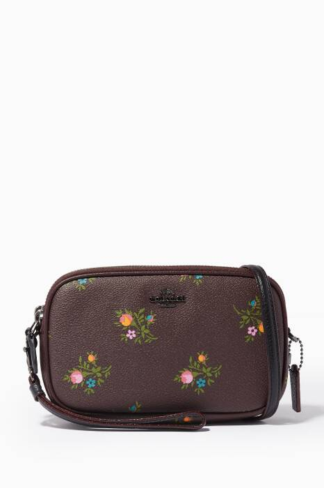 Burgundy Floral Cross-Body Clutch