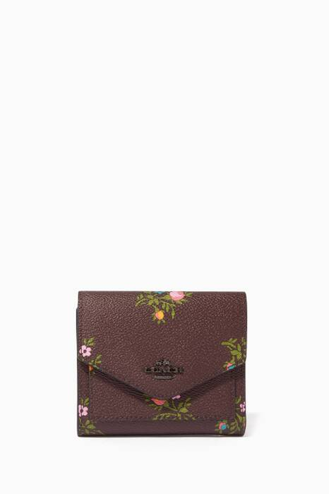 Burgundy Floral Print Small Wallet