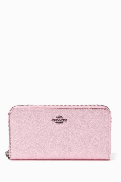Pink Accordion Zip Wallet