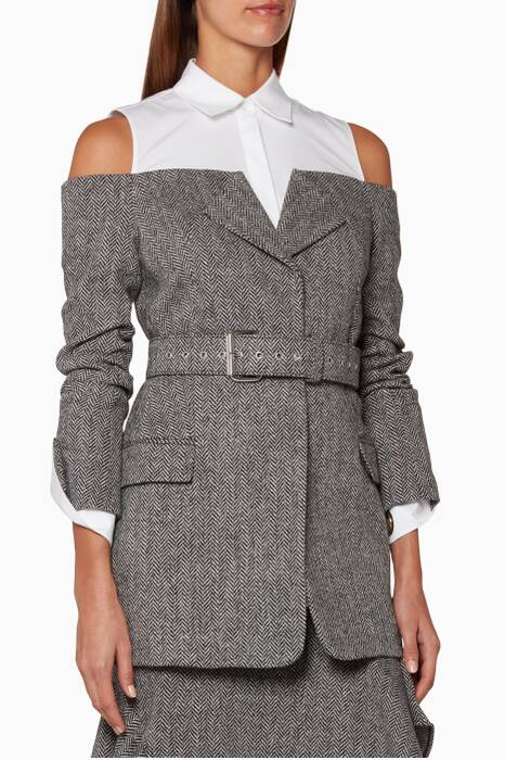 Grey Herringbone Belted Jacket