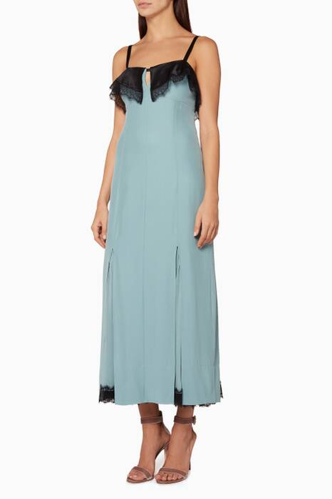 Teal Lace-Trim Flynn Dress
