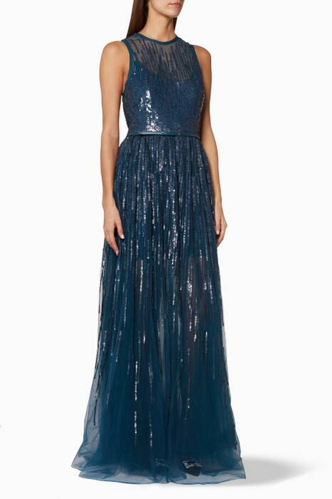 Blue Sleeveless Sequined Gown