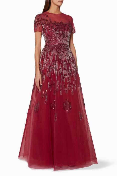 Dark-Red Embellished-Tulle Gown