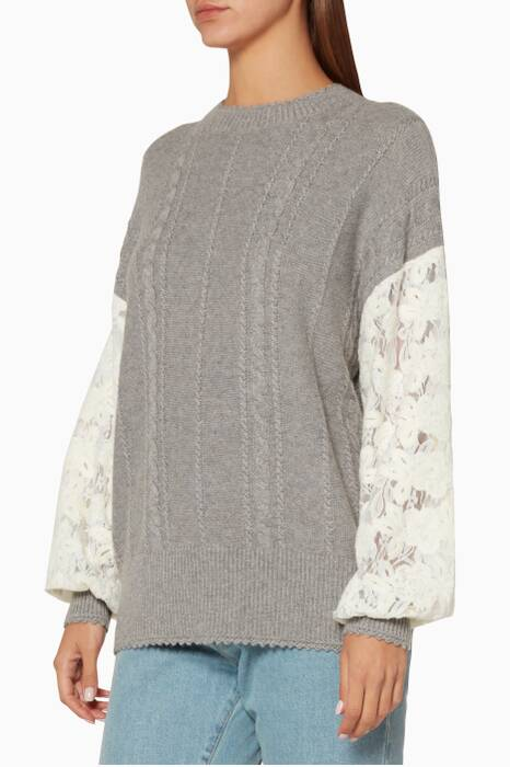 Light-Grey Lace Sleeve Top