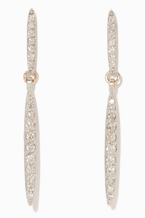 White-Gold Whisper Linear Drop Earrings