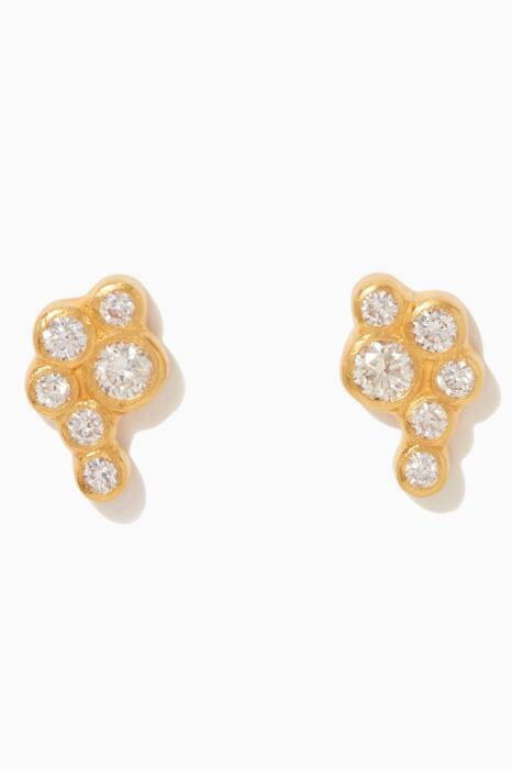 Gold Pointelle Diamond Crawler Earrings