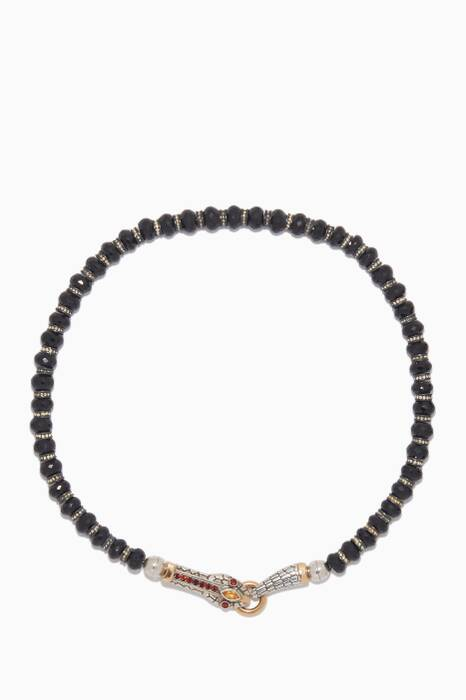 Black & Silver Beaded Snake Necklace