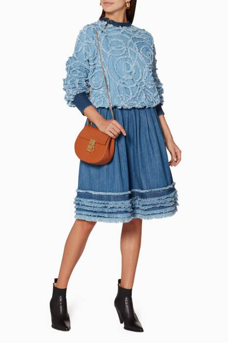 Blue Frayed Denim A-Line Skirt