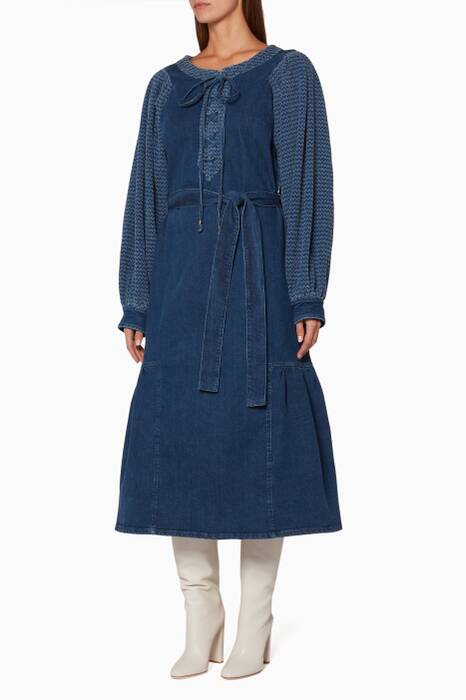 Blue Lace-Up Mutton Sleeve Dress