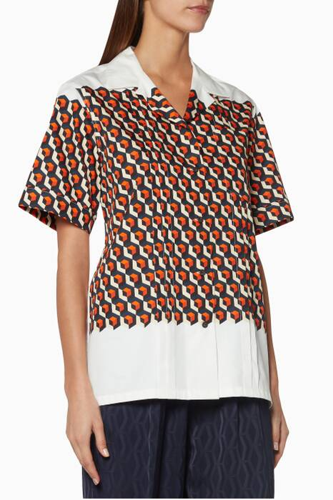 White & Orange Printed Clive Shirt