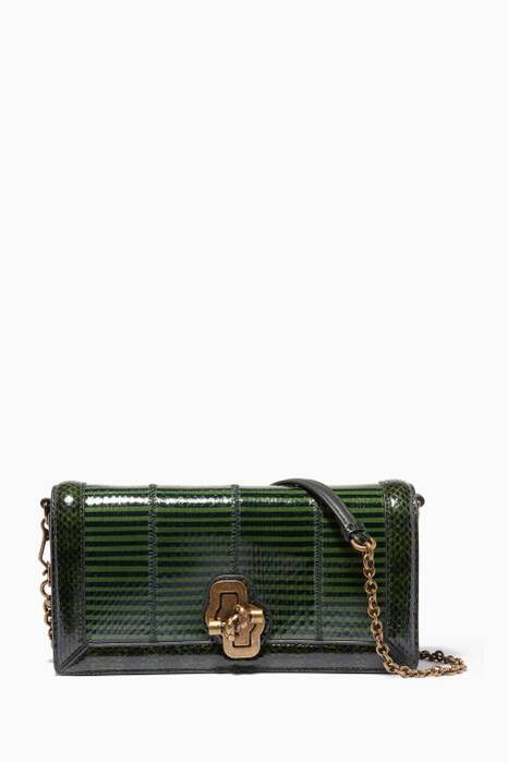 Ivy Dark Moss Elaphe Small Knot Clutch Bag