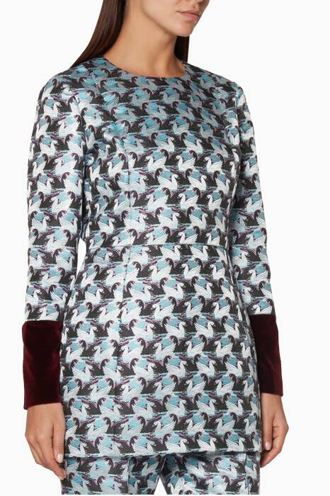 Silver Signet Jacquard Top