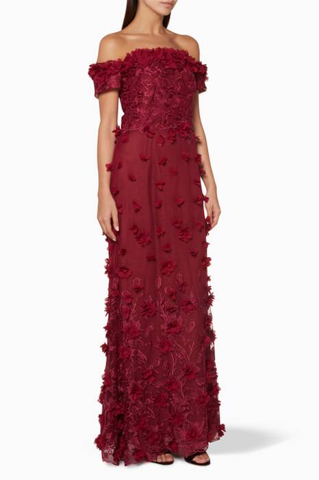 Dark-Red Floral Embroidered Off-The-Shoulder Gown