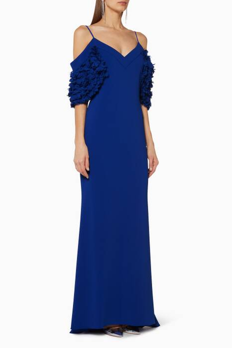 Bright-Blue Flower Sleeve Gown