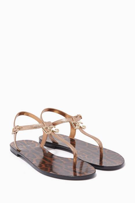 Gold Met Logo Leather Sandals