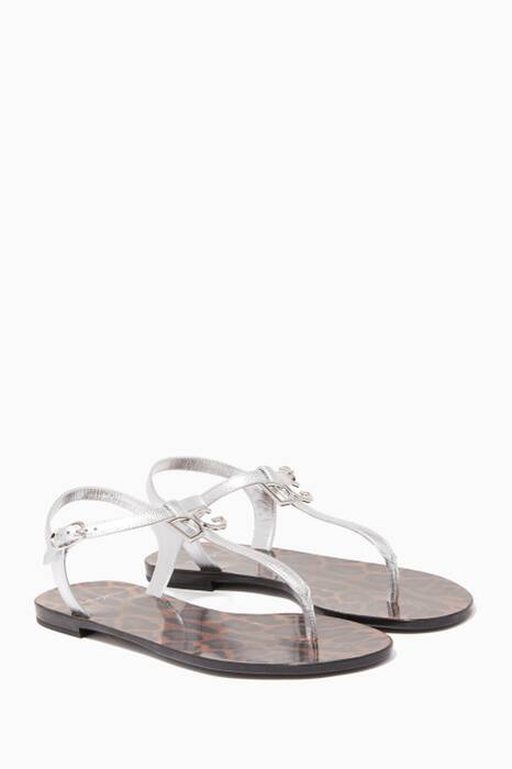 Silver Met Logo Leather Sandals
