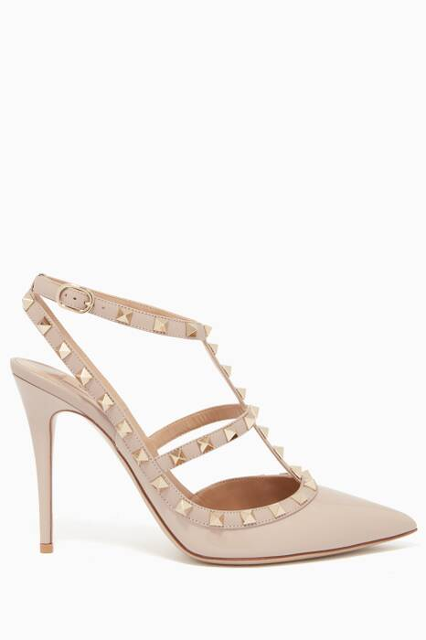 Dove-Grey Single-Strap Rockstud Patent Pumps