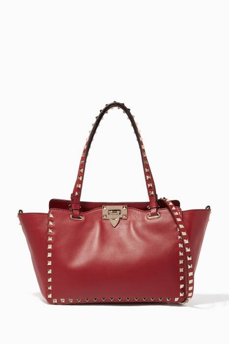 Red Small Rockstud Leather Tote Bag