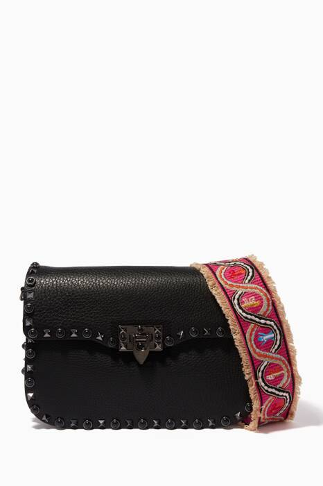 Black Guitar Rockstud Rolling Shoulder Bag