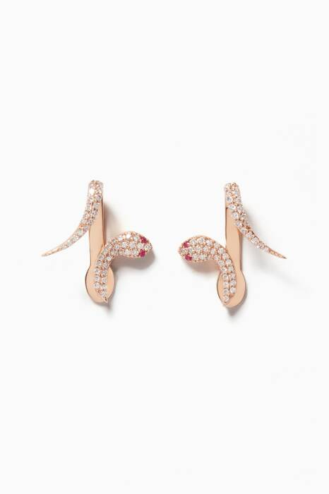 Rose-Gold, Ruby & Diamond Kundalini Serpent Earrings