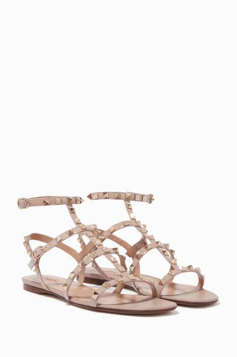 Light-Beige Rockstud Flat Sandals