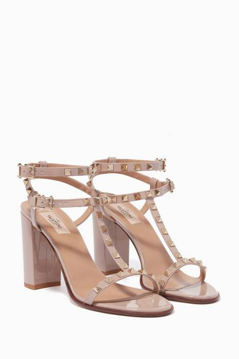 Light-Beige Rockstud Leather Sandals