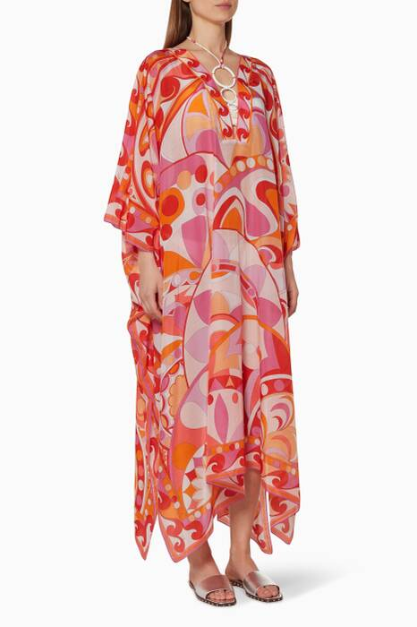 Orange Printed Kaftan