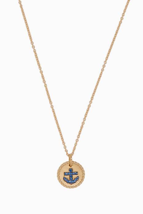 Yellow-Gold & Blue Sapphire Anchor Charm Necklace