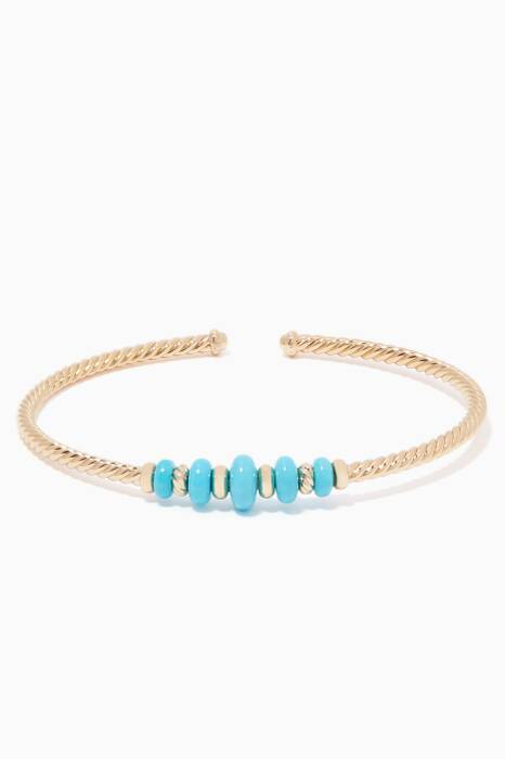 Yellow-Gold & Turquoise Rio Rondelle Cuff Bracelet