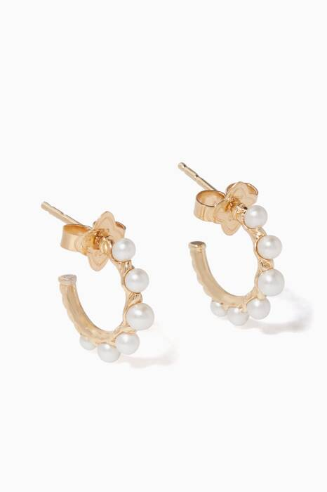 Yellow-Gold Petite Pearl Graduated Hoop Earring
