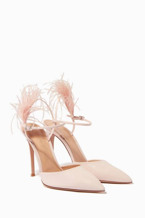 Pastel Pink Patent Leather & Feather Pumps