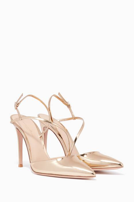 Gold Metallic Mirror Strap Pumps
