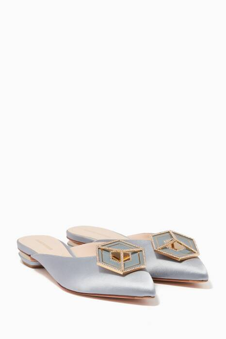 Dove-Blue Jewelled Satin Eden Mules