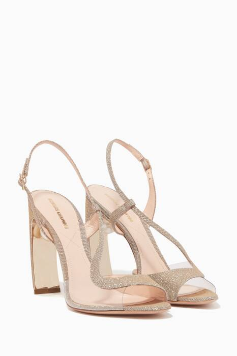 Silver Lurex Pearl-Embellished Meava Sandals