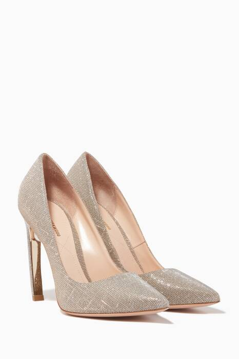 Silver Pearl-Embellished Lurex Pumps