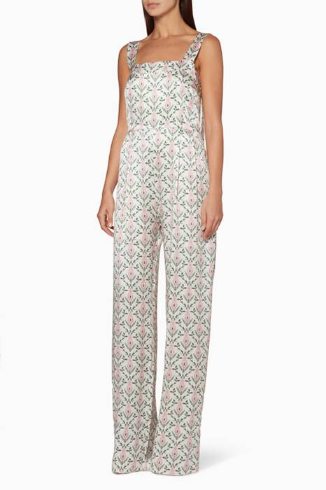 White Printed Fletch Jumpsuit