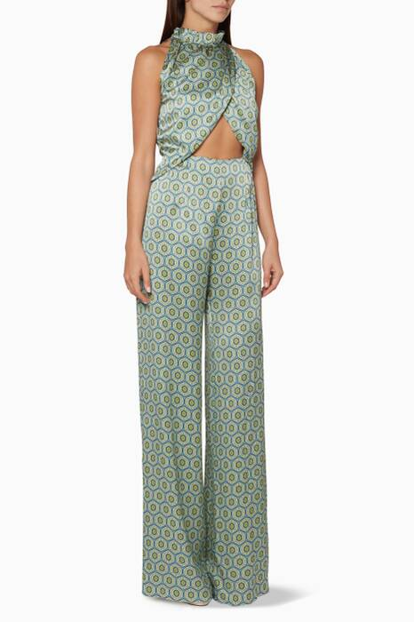 Blue Printed Soiree Jumpsuit