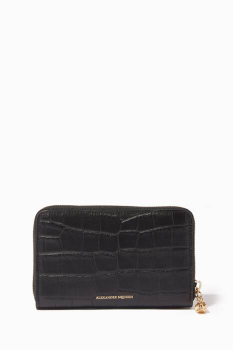 Black Medium Croc-Embossed Zip-Around Wallet
