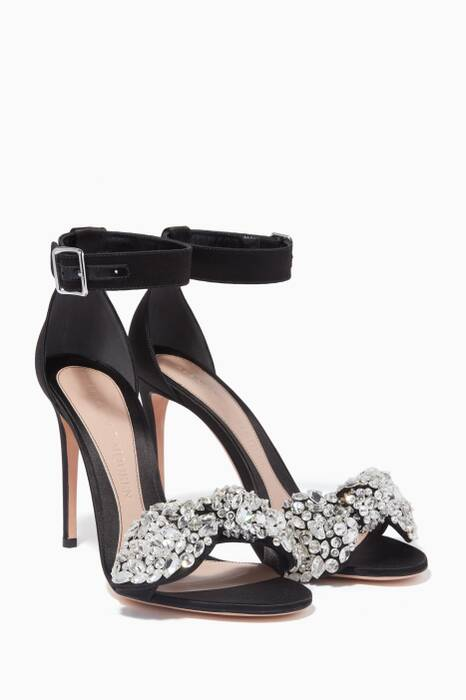 Black Crystal-Bow Embellished Sandals