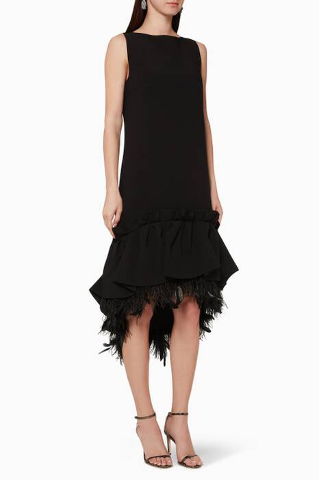 Black Jodie Feather-Embellished Dress